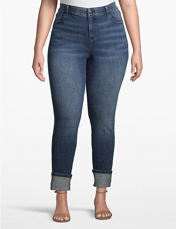 Venezia Skinny Ankle Jean - Medium Wash With Cuffed Hem