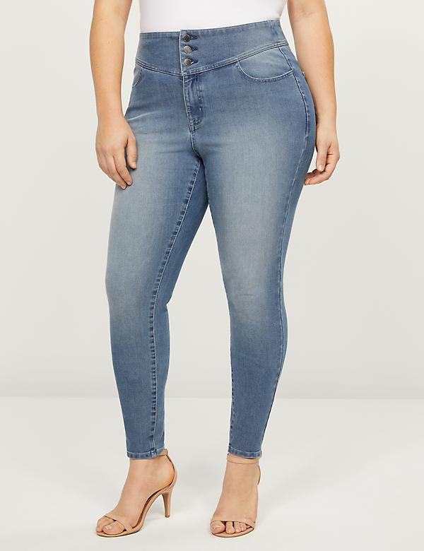 High-Rise 3-Button Jegging - Medium Wash