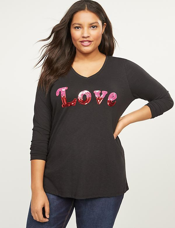Love Sequin Graphic Tee