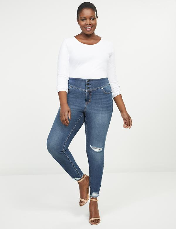 High-Rise 3-Button Jegging - Destructed Dark Wash