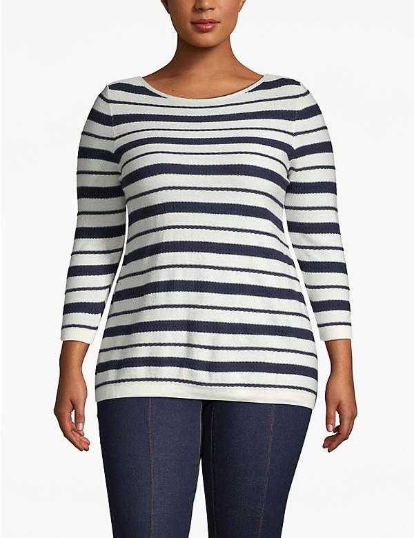 Textured Stripe Boatneck Sweater