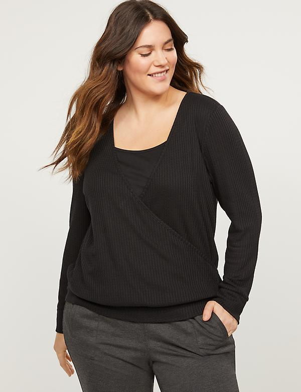 Waffle Knit Faux-Wrap Top