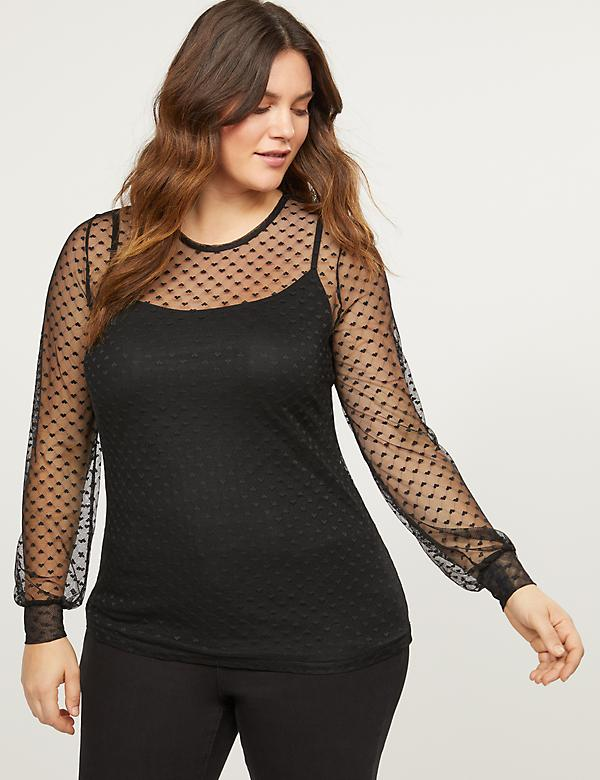 Heart Mesh Long-Sleeve Top