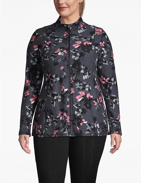 Active Floral Zip-Front Jacket