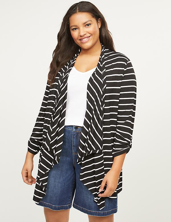 Striped Roll-Sleeve Draped Overpiece