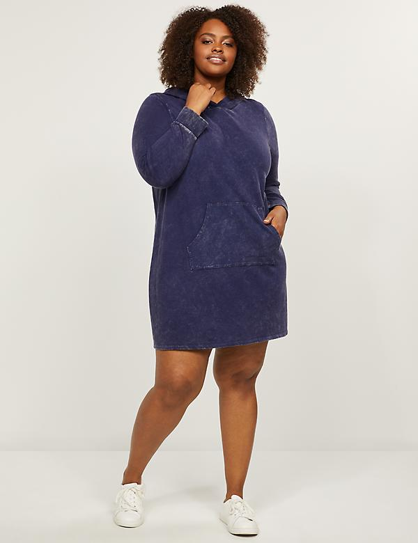 LIVI French Terry Hooded Dress - Mineral Wash