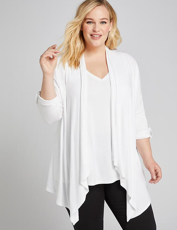 Roll-Sleeve Draped Overpiece