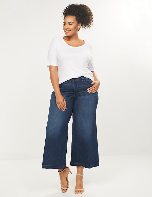 Wide Leg Mid Rise Crop Jean - Dark Wash