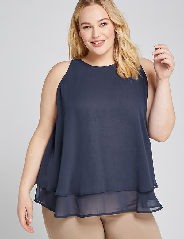 Scoop-Neck Double-Layer Swing Shell