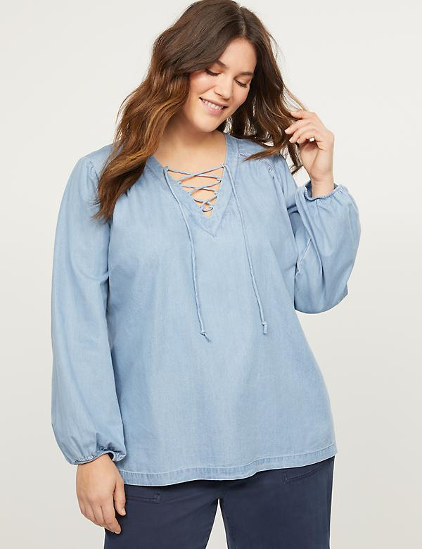 Chambray Lace-Up Peasant Top