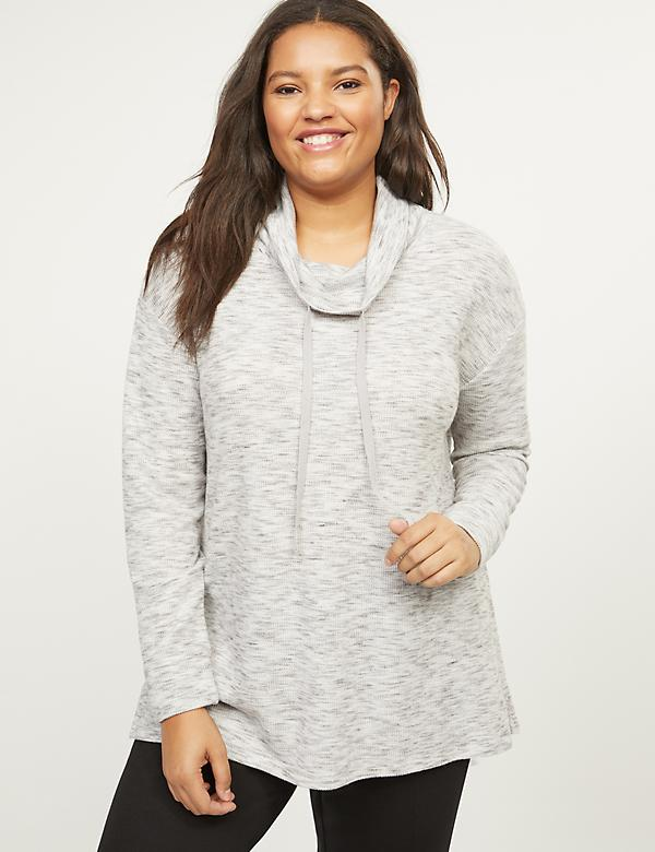 Softest Touch Waffle Cowlneck Top