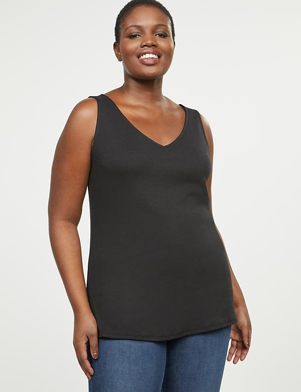 Ribbed Double V-Neck Tank Top