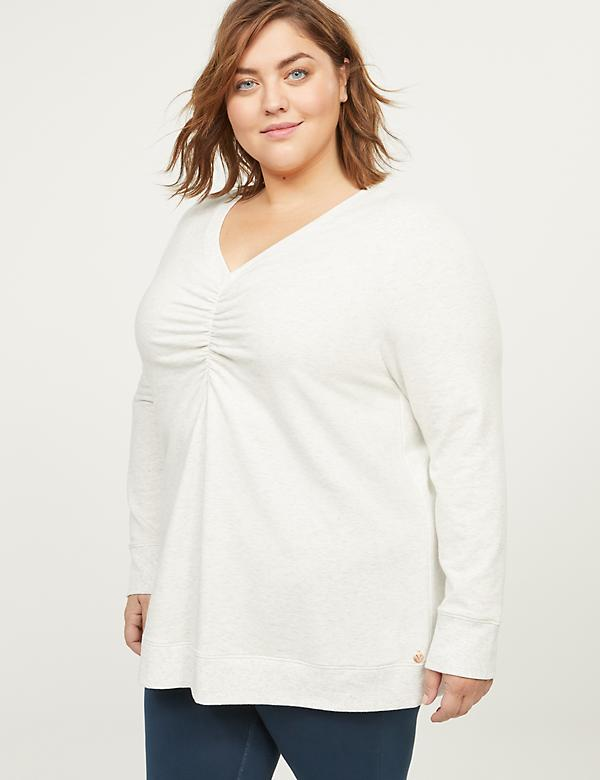 LIVI French Terry Sweatshirt - Ruched Front