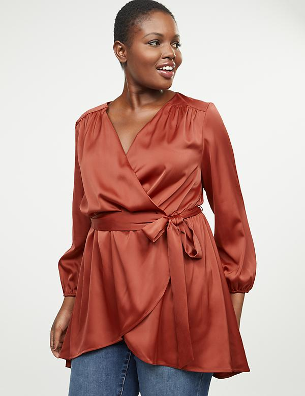 Satin Faux-Wrap Tunic