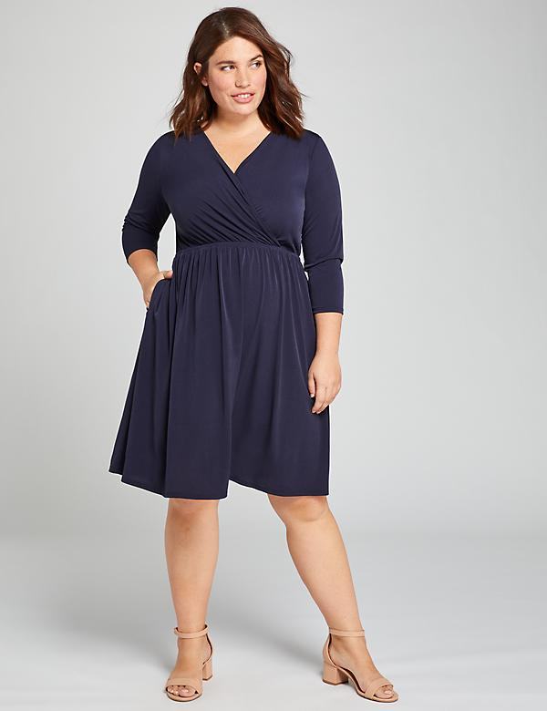 Faux-Wrap Fit & Flare Dress