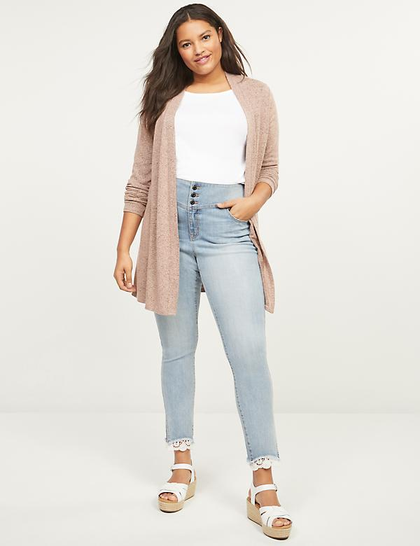 High-Rise 3-Button Jegging - Lace Hem