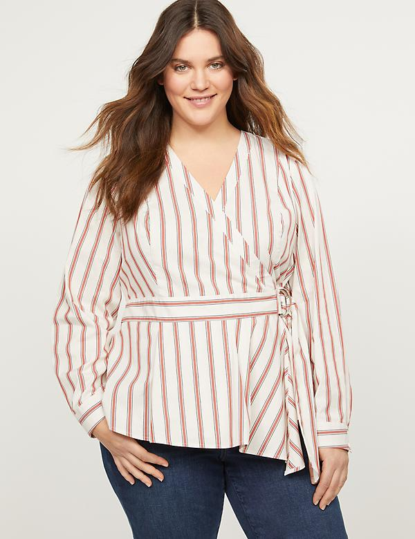 Striped Faux-Wrap Poplin Top