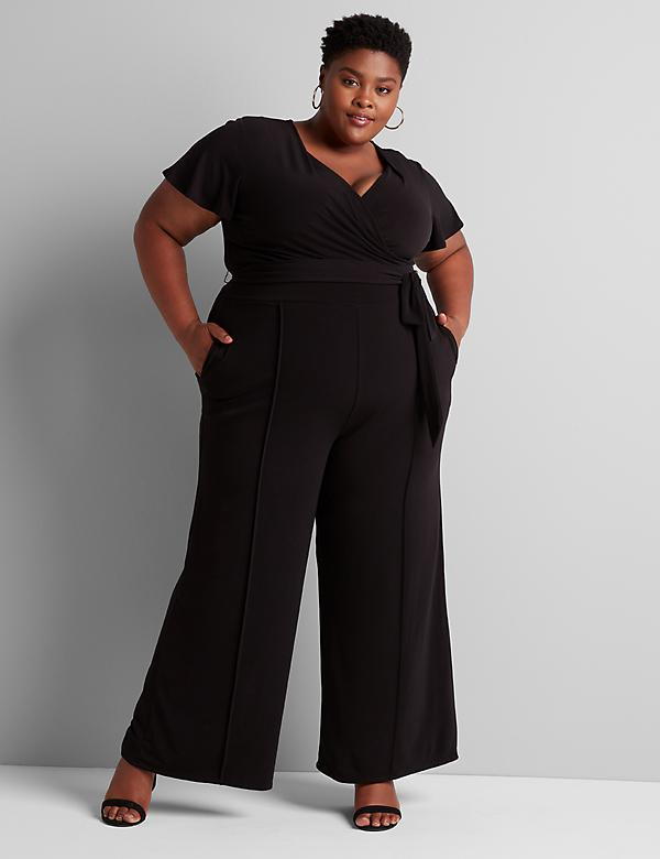 Faux-Wrap Flutter-Sleeve Jumpsuit