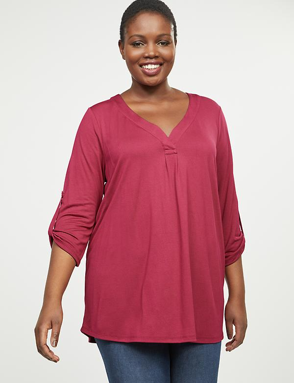 High-Low Convertible-Sleeve Top