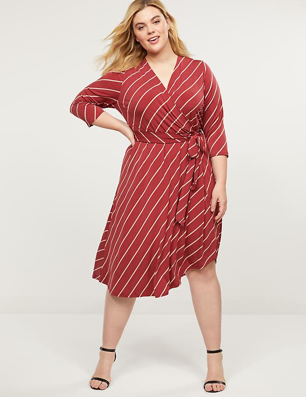 Printed Matte Jersey Faux-Wrap Dress
