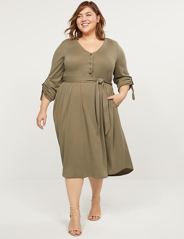 Buttoned-Front Fit & Flare Dress