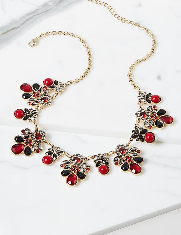 Floral Faceted Stone Necklace