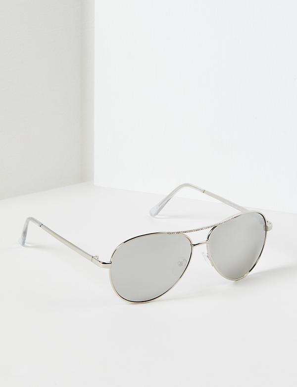 Aviator Sunglasses With Embellished Bar