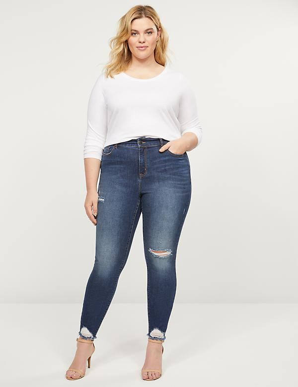 Curvy Fit High-Rise Skinny Jean - Dark Wash With Destruction