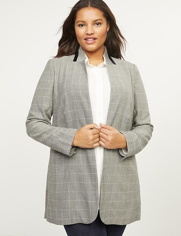 Plaid Blazer With Stand-Up Collar