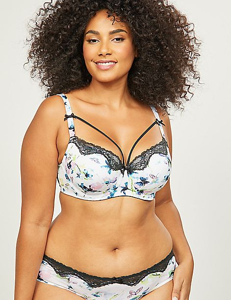Butterfly Floral Lightly Lined Balconette Bra