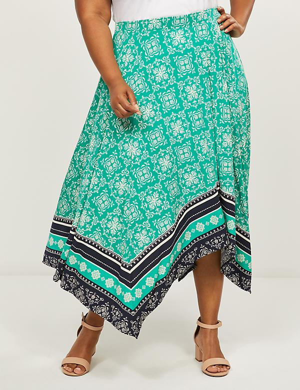 Printed Sharkbite Midi Skirt