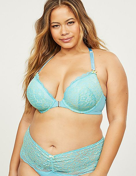 Cross-Dyed Lace Front-Close Boost Plunge Bra
