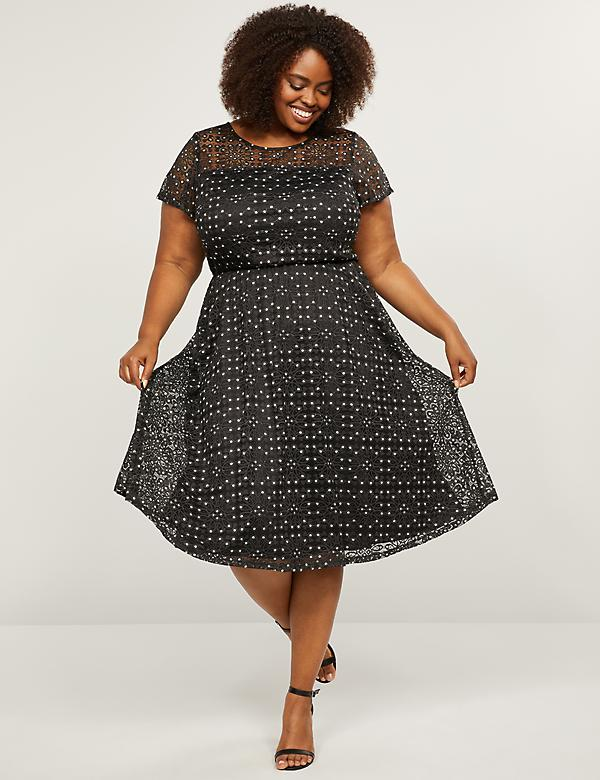 Patterned Lace Fit & Flare Dress