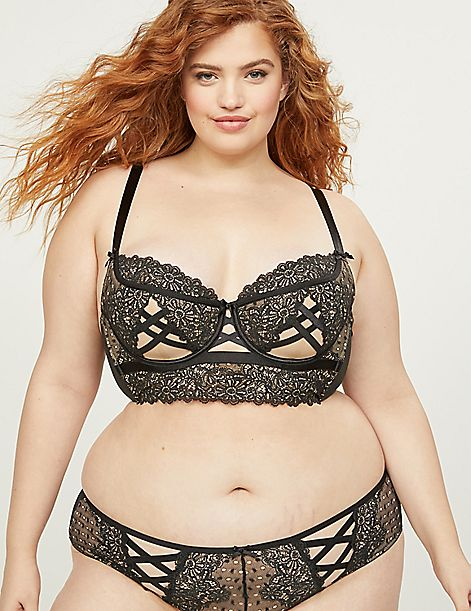 Spot Lace Lightly Lined Longline Balconette Bra - Spot Lace