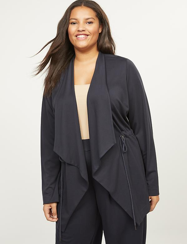 Ponte Relaxed Drape-Front Jacket
