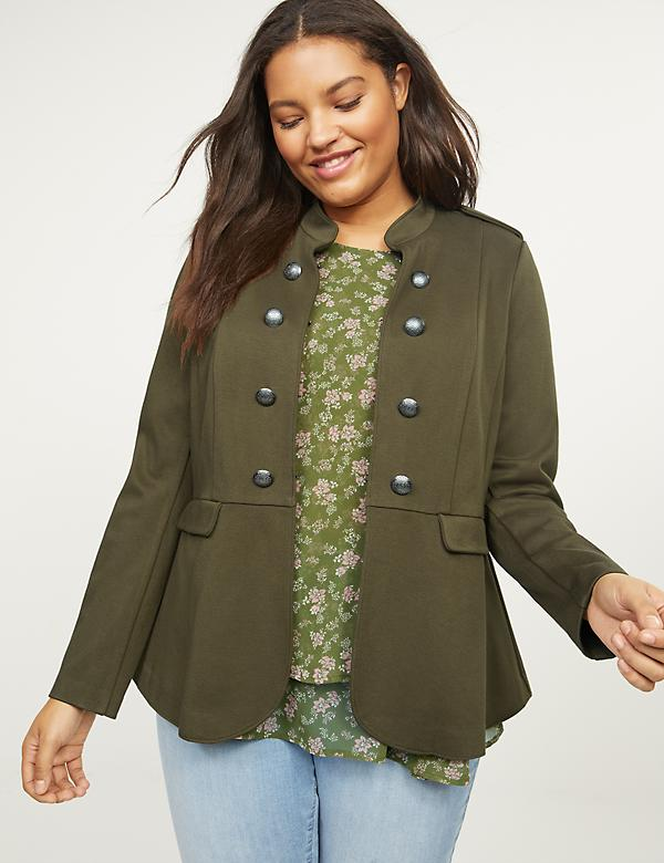 Ponte Peplum Military Jacket