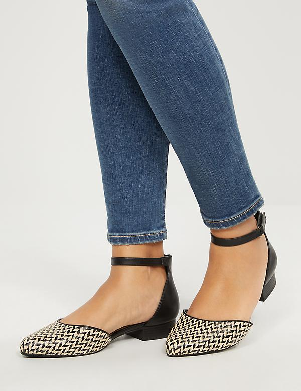 Two-Piece Ankle-Strap Flat - Houndstooth