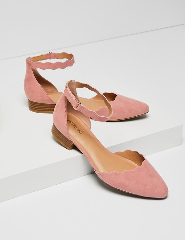 Two-Piece Ankle-Strap Flat - Wavy Edge