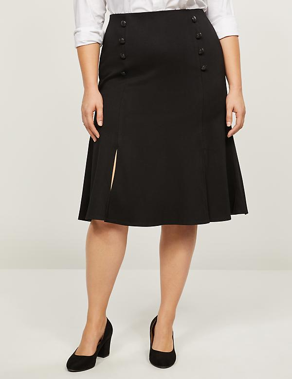 Faux-Button Flounce Ponte Skirt