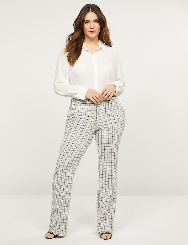 Allie Ponte Boot Pant - Plaid