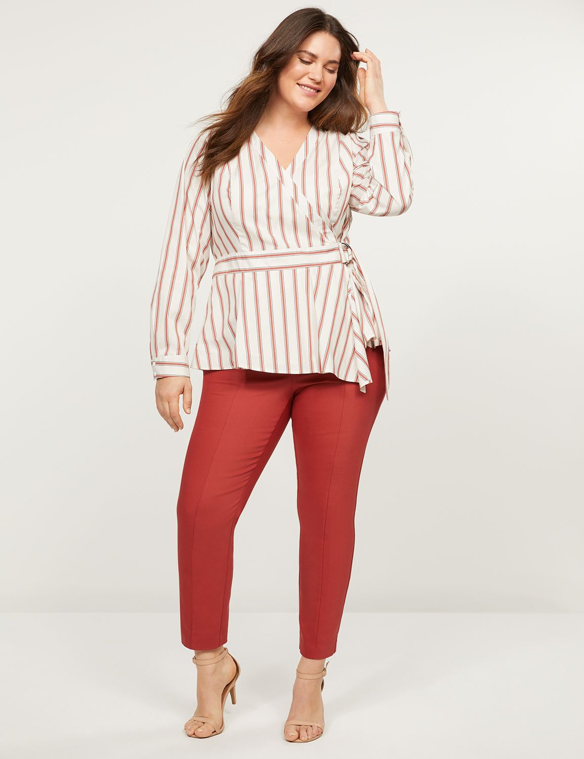 Lane Bryant Women's Power Pockets Allie Modern Stretch Ankle Pant 24P Scorched Red