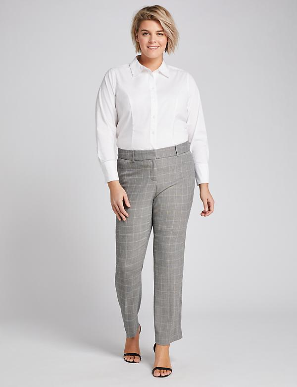 Allie Tailored Stretch Straight Pant - Windowpane