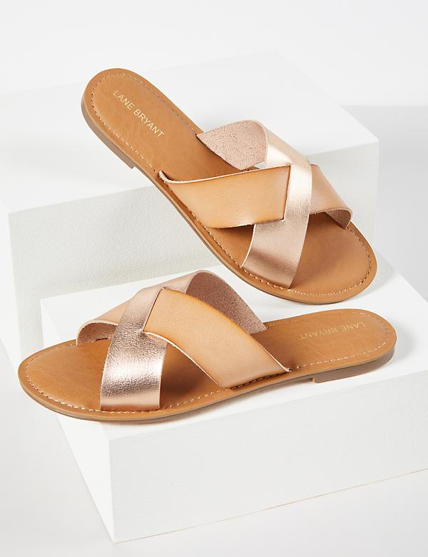 Crisscross Shimmer Slide Sandals