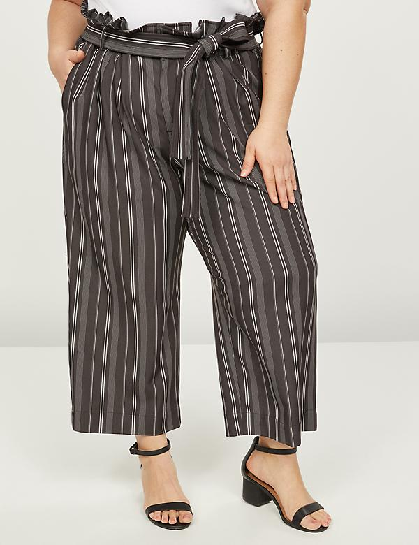 Soft Ankle Pant With Belt - Striped