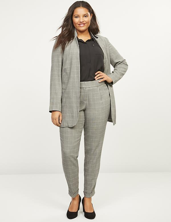 Allie Tailored Stretch Straight Ankle Pant - Plaid