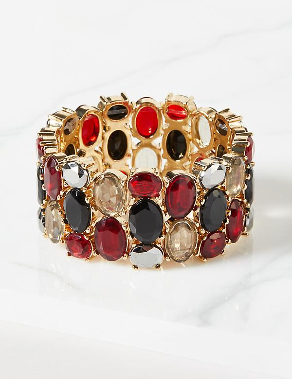Faceted Stone Stretch Bracelet - Ruby Red