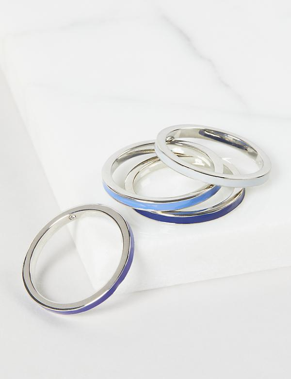 Polished Blue & White Rings - 4-Pack