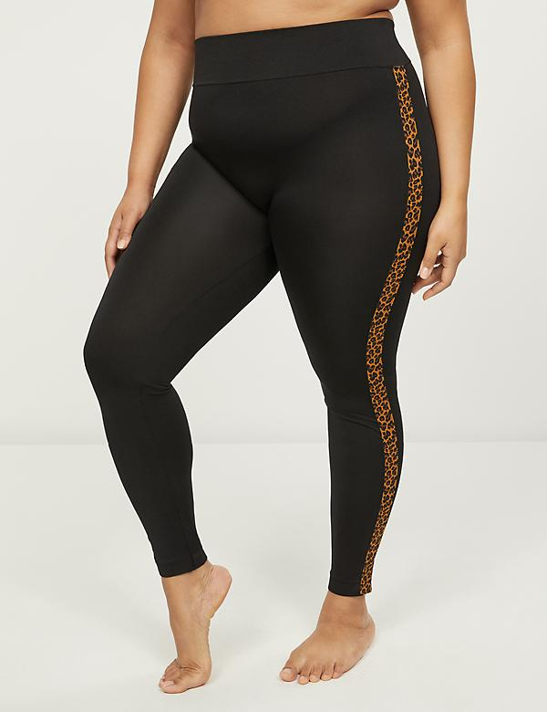 Black Legging with Leopard Print Side Stripe