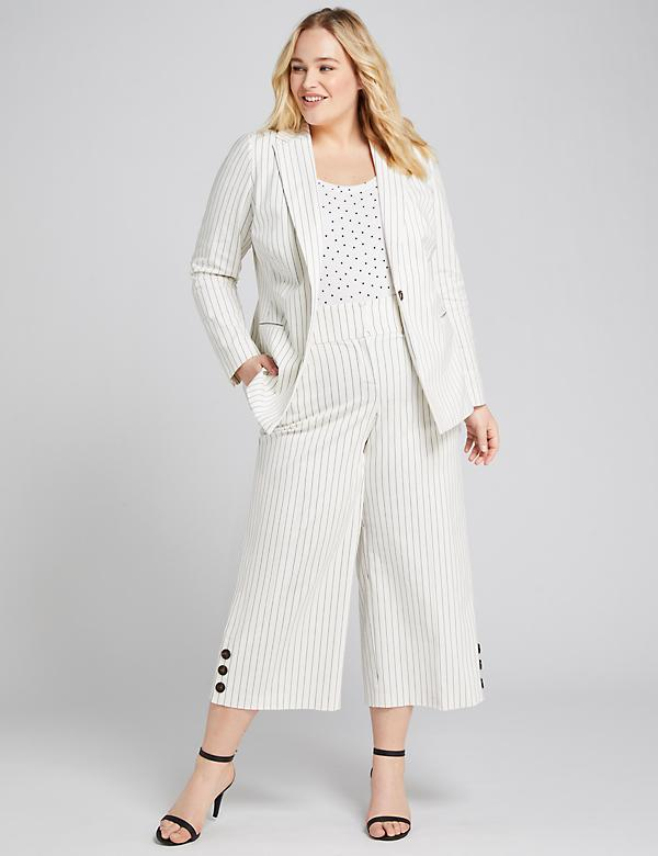 Power Pockets High-Rise Wide Leg Crop With Button Hem - Pinstripe