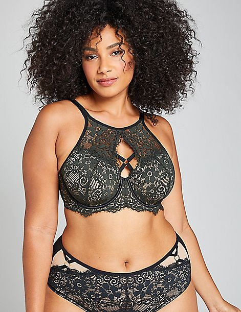 High-Neck Lightly Lined Balconette Bra With Floral Lace